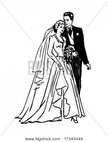 Bride And Groom - Retro Clip Art