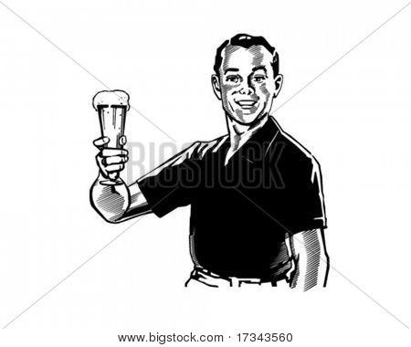 Man With Beer - Retro Clip Art