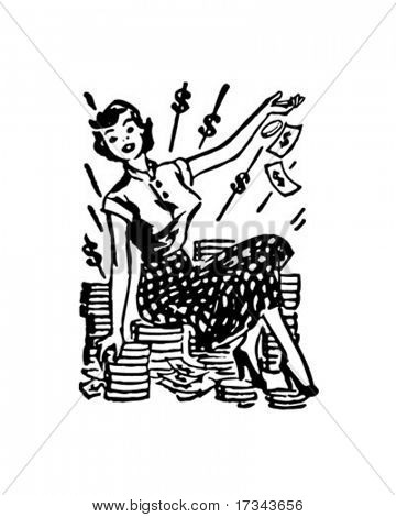 Lady On Pile Of Cash - Retro Clip Art