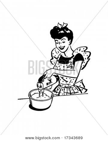 Lady With Electric Beater - Retro Clip Art