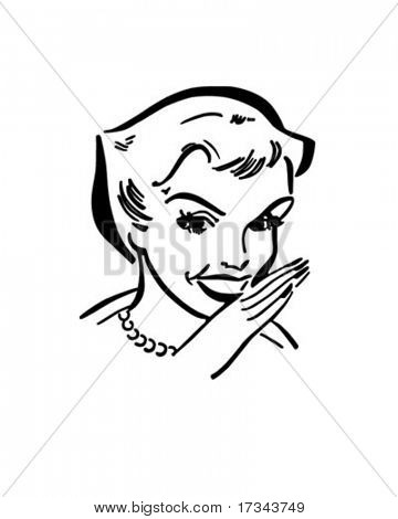 Gossiping Lady - Retro Clip Art
