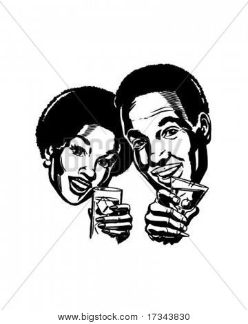 Couple With Cocktails 2 - Retro Clip Art