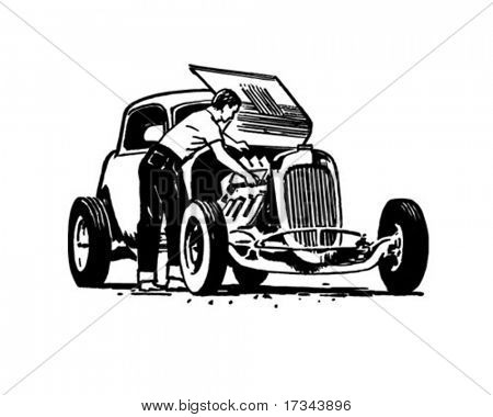 Hotrod Repair - Retro Clip Art
