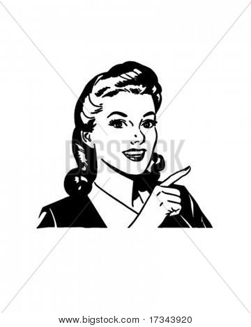 Pointing Gal - Retro Clip Art