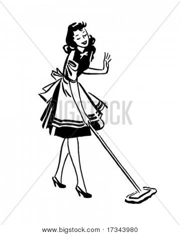Woman Mopping Floor - Retro Clip Art