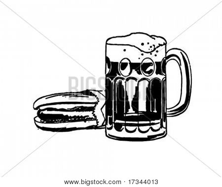 Hot Dog y cerveza de raíz - Retro Clip Art