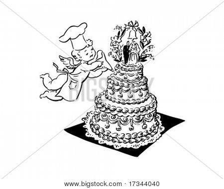 Wedding Cake And Cherub - Retro Clip Art