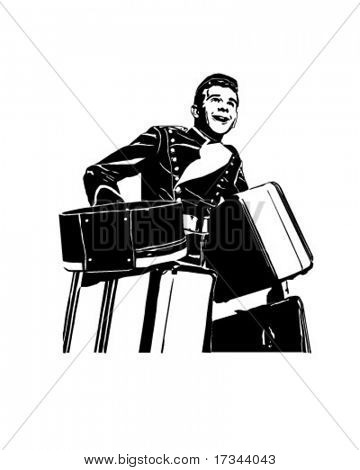 Bellhop With Suitcases - Retro Clip Art