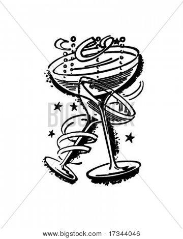 Champagne Glasses - Retro Clip Art