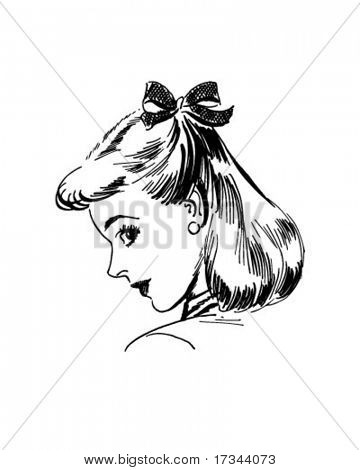 Coy Woman - Retro Clip Art