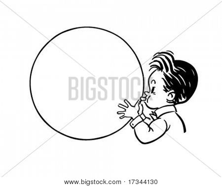 Balloon Boy - Ad Bubble - Retro Clip Art