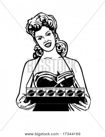 Cigarette Lady - Retro Clip Art