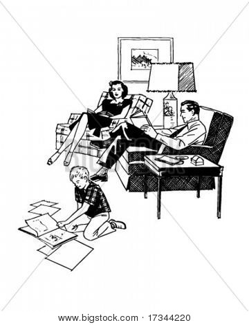 Family Relaxing In Livingroom - Retro Clip Art