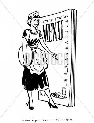 Waitress With Menu Behind - Retro Clip Art