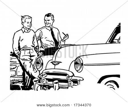 Father And Son Chat - Retro Clip Art