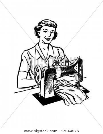Lady Sewing - Retro Clip Art