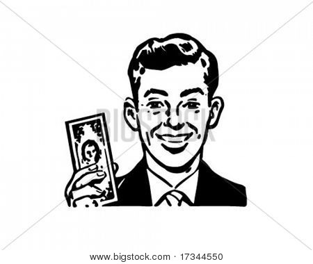 Man With Billion Dollar Bill - Retro Clip Art