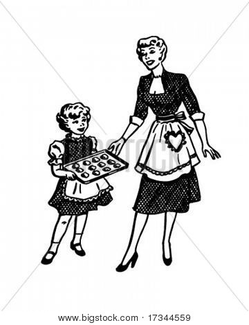 Mother And Daughter Baking - Retro Clip Art