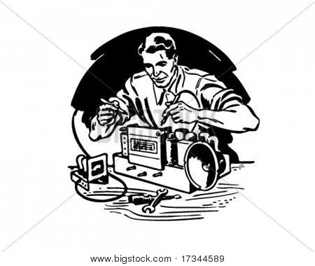 Radio Repairman 1 - Retro Clip Art