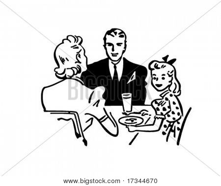 Family Dinner - Retro Clip Art Vector & Photo | Bigstock