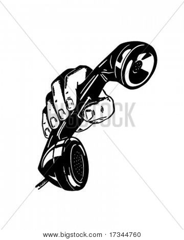 Telefon In der Hand - Retro ClipArt