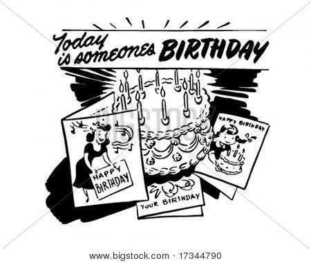 Vandaag Is de verjaardag van iemand - Retro illustraties