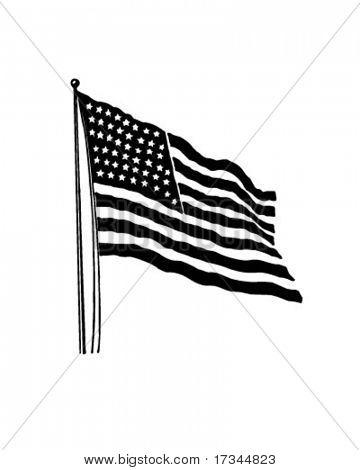 American Flag With 48 Stars - Retro Clip Art