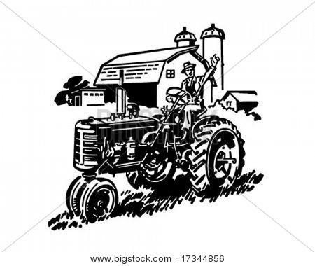 Farmer On Tractor Waving - Retro Clip Art