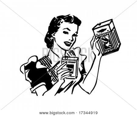 Housewife With Products - Retro Clip Art