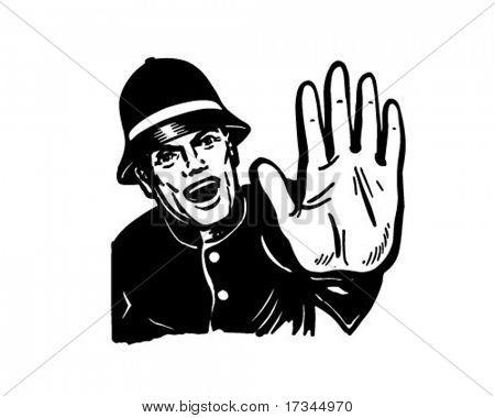 Policeman Yelling Stop - Retro Clip Art