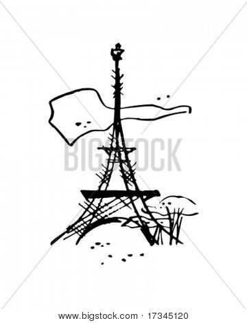Eiffel Tower - Retro Clip Art
