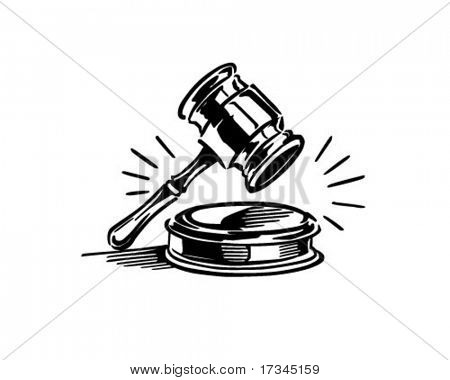 Gavel - Retro Clip Art