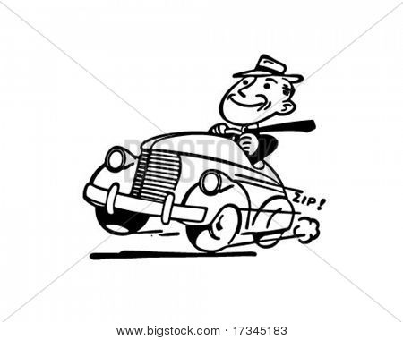 Happy Motorist - Retro Clip Art