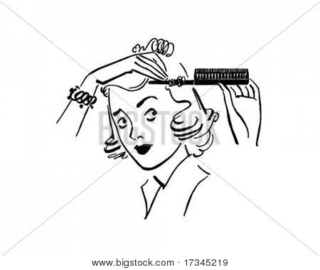 Lady Styling Hair - Retro Clip Art
