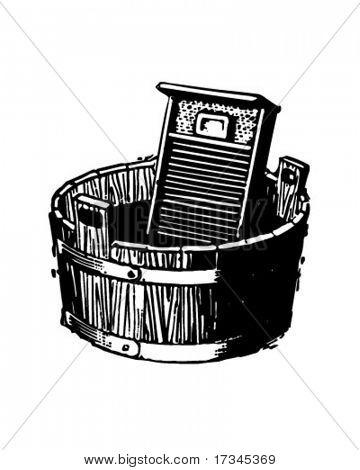 Washboard And Bucket - Retro Clip Art