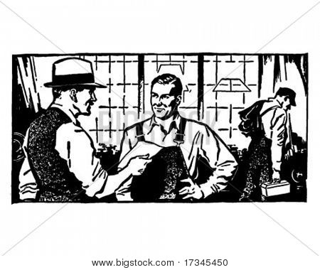 Chatting With The Boss - Retro Clip Art