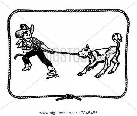 Garoto Cowboy com borda de corda - Retro Clip-Art