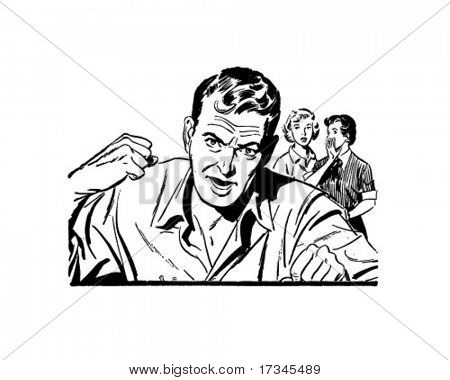Enraged Man - Retro Clip Art