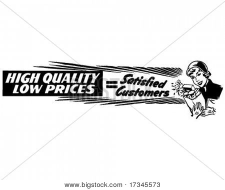 High Quality Low Prices - Ad Banner - Retro Clip Art