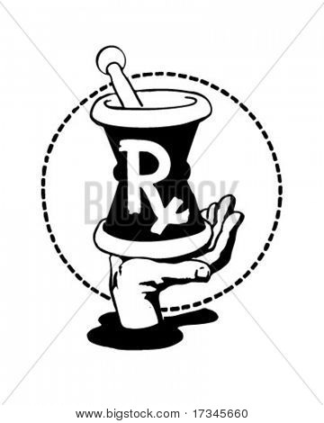 RX Mortar On Palm Of Hand - Retro Clip Art