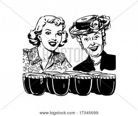Thrilled Ladies With Fresh Preserves - Retro Clip Art