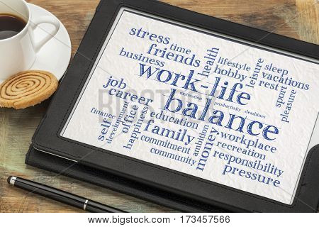 work life balance word cloud - word abstract on a digital tablet with a cup of coffee