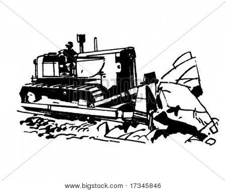 Bulldozer - Retro Clip Art
