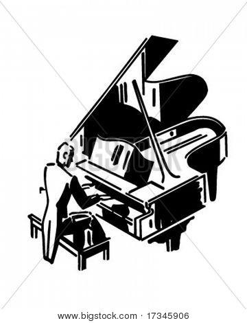 Concertista de piano - Retro Clip Art