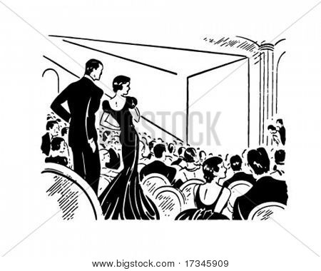 Evening At The Theater - Retro Clip Art