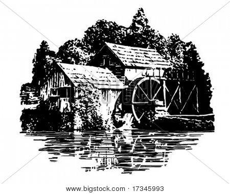 Grist Mill - Retro Clip Art