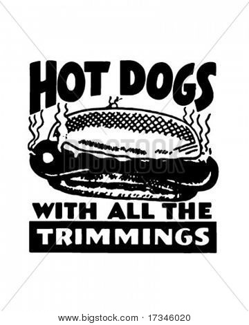 Hotdogs - Display Signage - Retro Clip Art