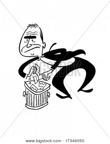 Into The Trash - Retro Clip Art