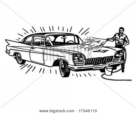 Man Washing Car - Retro Clip Art