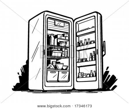 Open Fridge - Retro Clip Art